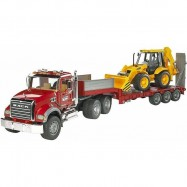 Bruder - Nákladní auto  MACK Granit - návěs + traktor JCB