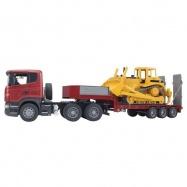 Ciężarówka Scania z buldożerem Caterpillar Bruder