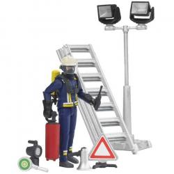 Bruder - Figúrka hasič + rebrík + prísl.