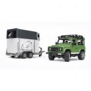 Bruder Land Rover Z PRZYCZEPĄ + KOŃ