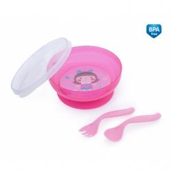 Uzavíratelná miska s lžičkou a vidličkou Toys - růžová