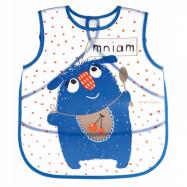 Plastový podbradník / zásterka s vreckom Monsters - modrá
