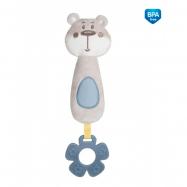 Plyšová pískací hračka s pískátkem a kousátkem - Medvídek šedý