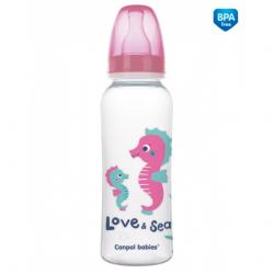 Fľaštička s potlačou 250 ml Love & Sea - ružová