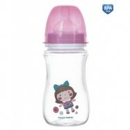 Antikoliková fľaštička so širokým hrdlom Canpol Babies Easy Štart - TOYS 240 ml - ružová