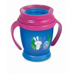 Kúzelný hrnček 360 ° LOVI 14+, modro / ružový - Zajačik, 350ml