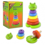 Farebné krúžky skladačka - žaba drevená