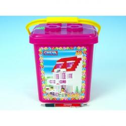 Stavebnica Cheva 18 Cukráreň plast 215ks v vedre 17x22x17cm