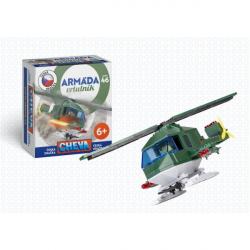 Stavebnica Cheva 46 Vrtuľník vojenský plast 121ks v krabici 18x19x9cm