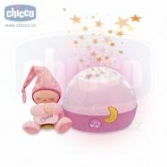 Chicco Lampička hrajúca nočná obloha - růžová