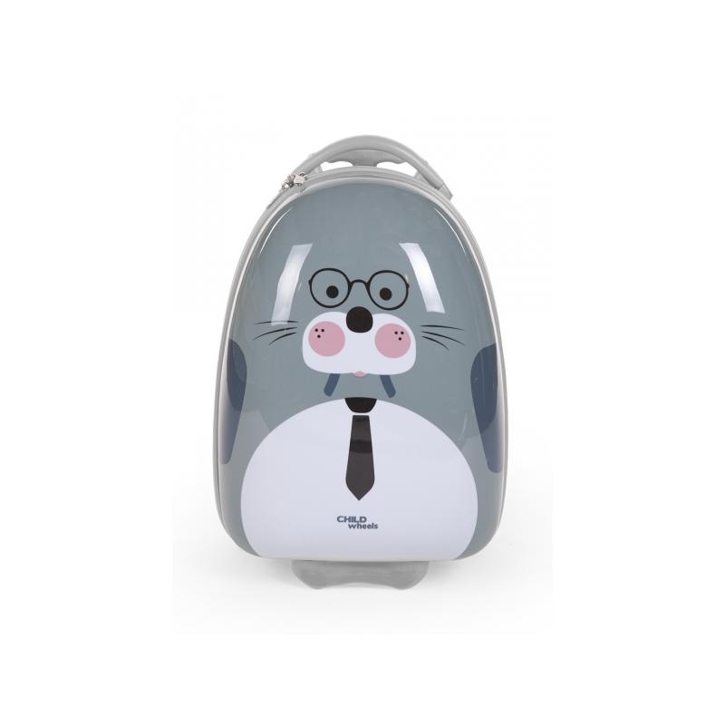 Detský pojazdný kufor Mrož Grey