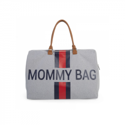 Prebaľovacia taška Mommy Bag Grey Stripes Red / Blue