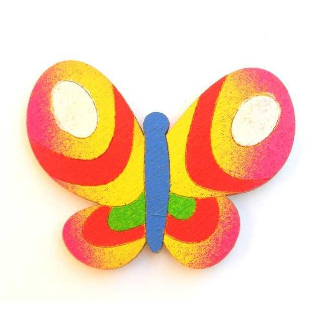 Dřevěné dekorace - dřevěné magnetky - magnetka Motýl duhový