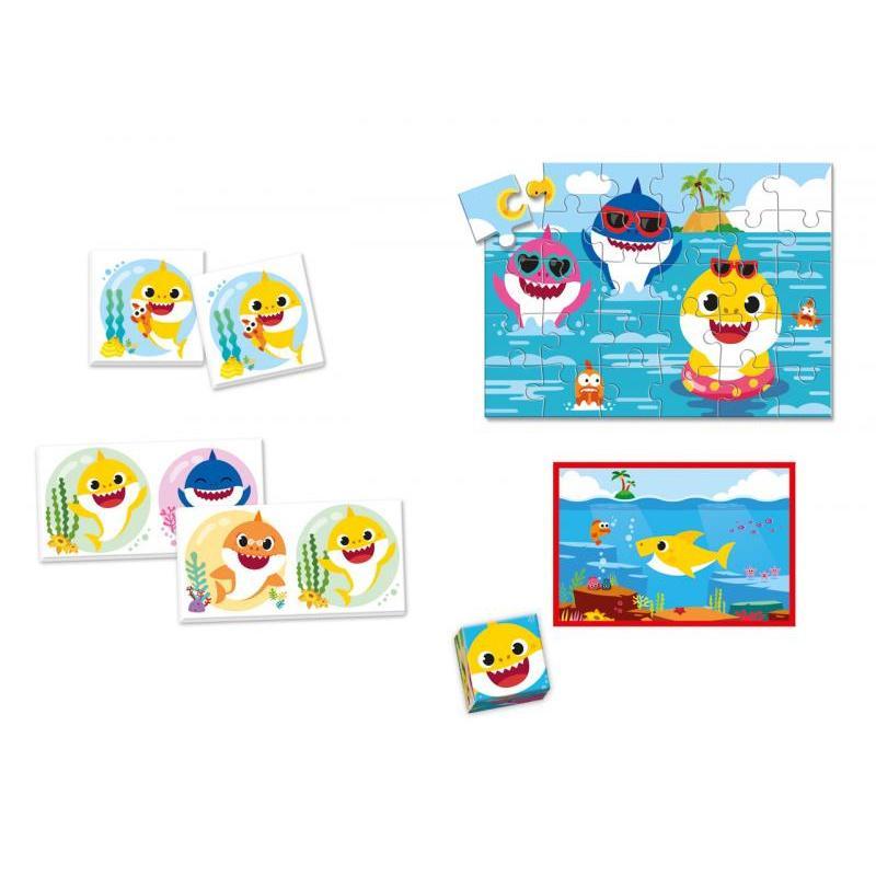 EDUkit - Baby Shark 4v1 (pexeso, 60 puzzle, domino, 6 kociek)