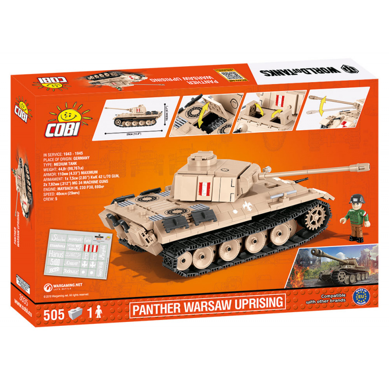 Cobi 3035 World of Tanks Panther Varšavské povstanie 505 k, 1 f