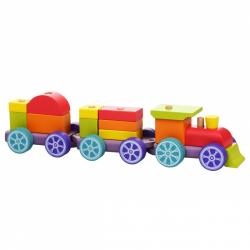 CUBIKA 12923 Duhový vláček s dvěma vagony - dřevěná skládačka 15 dílů