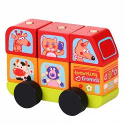 CUBIKA 13197 Minibus šťastná zvířátka - dřevěná skládačka 7 dílů