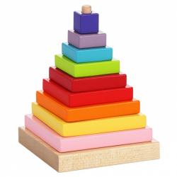 Cubik 13357 Farebná pyramída - drevená skladačka 9 dielov