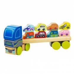 CUBIKA 13418 Kamion s auty - dřevěná skládačka 12 dílů