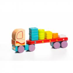 Cubik 13425 Kamión s geometrickými tvarmi - drevená skladačka 19 dielov