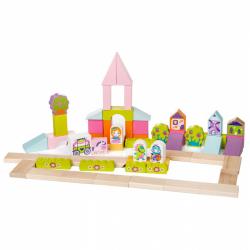 Cubik 13906 Rozprávkové mesto - drevená stavebnica 55 dielov