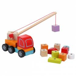 Cubik 13982 Autožeriav s magnetom - drevená skladačka 14 dielov