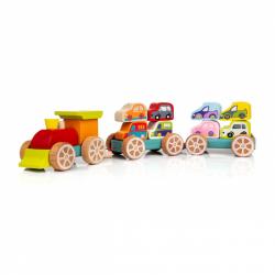 CUBIKA 13999 Vláček s auty - dřevěná skládačka 14 dílů
