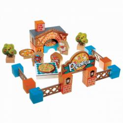 Cubik 14835 Pizzeria - drevená stavebnica s kartónovými doplnkami