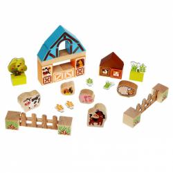 Cubik 14842 Farma - drevená stavebnica s kartónovými doplnkami