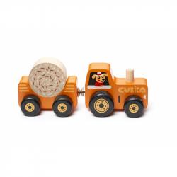Cubik 15351 Traktor s vlekom - drevená skladačka s magnetom 3 diely