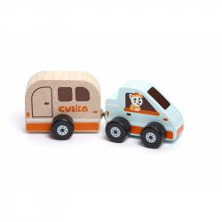 Cubik 15368 Auto s karavanom - drevená hračka s magnetom 2 diely