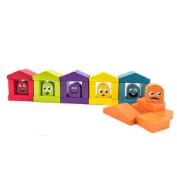 Cubik 14866 Farebné domčeky - drevená stavebnica 30 dielov
