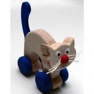 Drevené hračky - hračka na kolieskach - Mačička