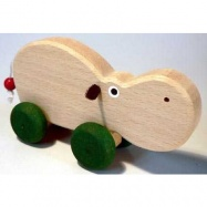 Dřevěné hračky - hračka na kolečkách - Hroch