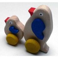 Dřevěné hračky - hračka na kolečkách - Tučňáci