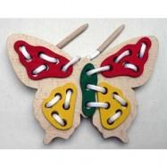 Dřevěná hračka - Prošívání a provlékání - Motýl