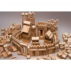 EkoToys Dřevěné kostky přírodní 220 ks XL