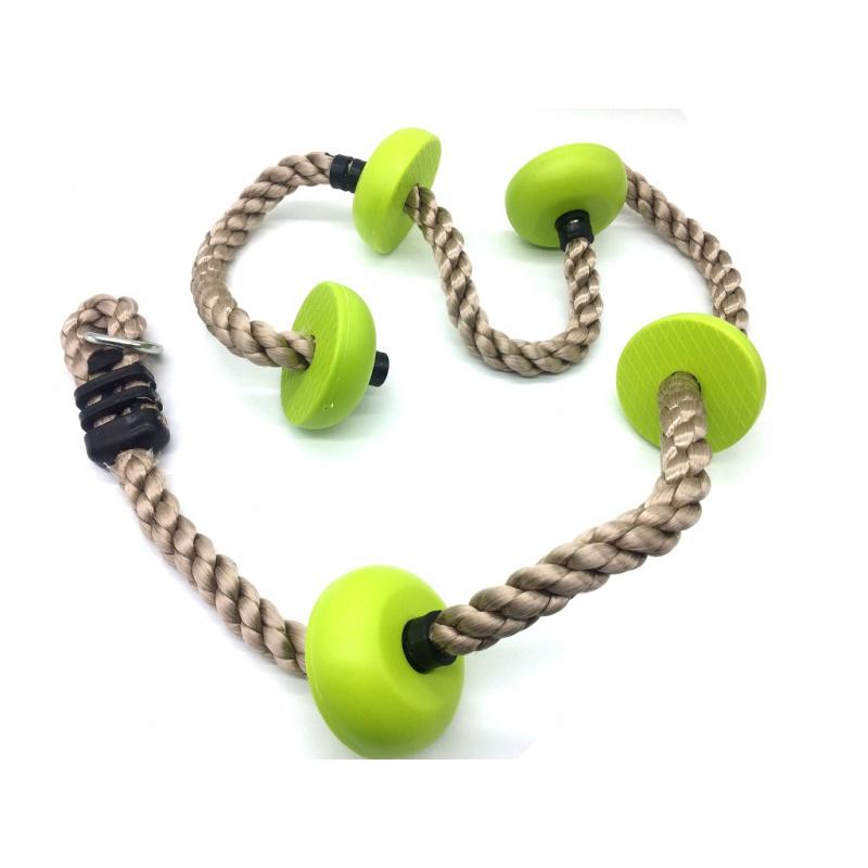 Dvěděti Dětské šplhací lano s disky zelené