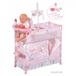 DeCuevas 53034 Skladacia postieľka pre bábiky s 5 funkčnými doplnkami Magic Maria 2020