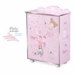 DeCuevas 55234 Dřevěná šatní skříň pro panenky s doplňky Magic Maria