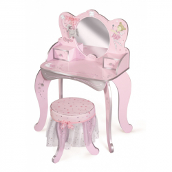 DeCuevas 55534 Drevený toaletný stolík so zrkadlom, drevenou stoličkou a doplnky Magic Maria 2020