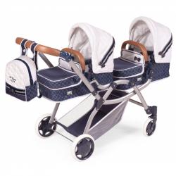DeCuevas 80337 Skladací kočík pre dvojičky bábiky 3 v 1 s batôžkom TOP Collection 2020 - 81 cm