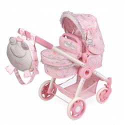 DeCuevas 80534 Skladací kočík pre bábiky 3 v 1 s batôžkom Magic Maria 2020 - 70 cm