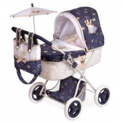 DeCuevas 85032 Skladací kočík pre bábiky sa slnečníkom a doplnky Classic Gold 2020 - 60 cm