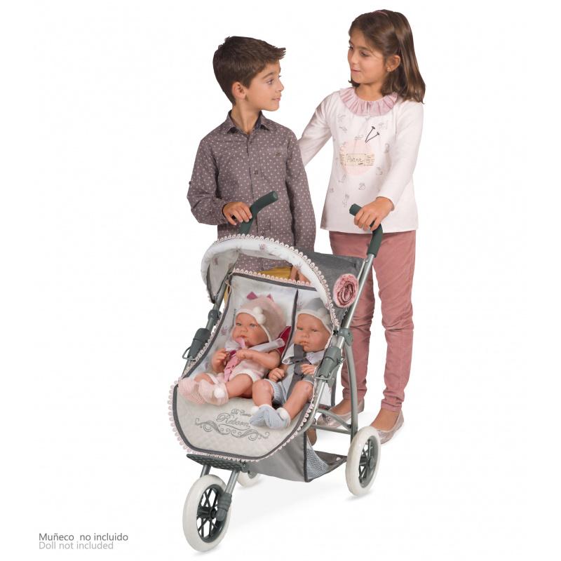 DeCuevas Skládací tříkolový pro dvojčata panenky Reborn 2019