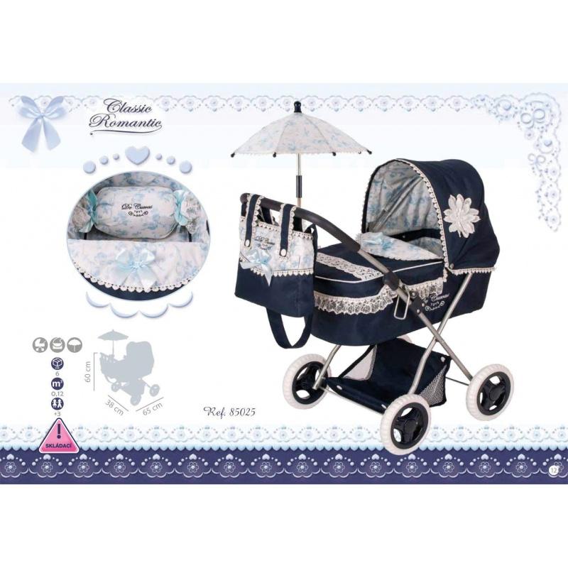DeCuevas 85025 Skládací kočárek pro panenky s deštníkem Clasic Romantic 2018-M