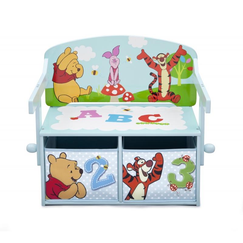 Dětská lavice s úložným prostorem Medvídek Pú TB84988WP