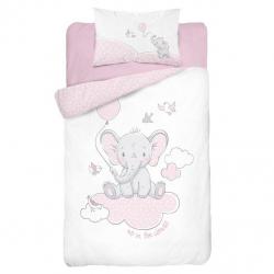 Detské obliečky Sloníča na obláčiku - ružové 135x100 cm