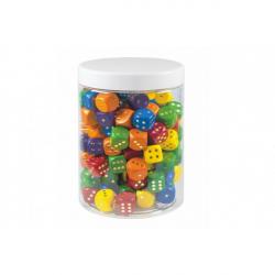 Hracie kocky farebné drevo spoločenská hra 16mm 150 ks v plastovej dóze 10x14cm