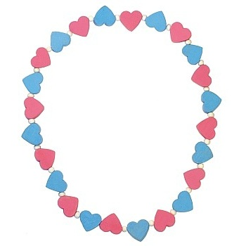 Dětský náhrdelník s růžovými a modrými srdíčky